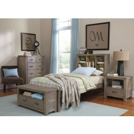Highlands Driftwood Bookcase Youth Panel Bedroom Set