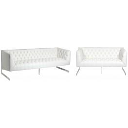 Viper White Leather Living Room Set