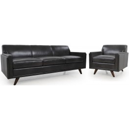 Milo Charcoal Leather Living Room Set