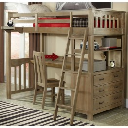 Highlands Driftwood Twin Loft Bed with Desk And Chair