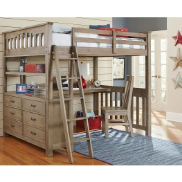 Highlands Driftwood Full Loft Bed with Desk And Chair