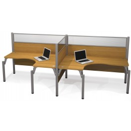 Pro-Biz Cappuccino Cherry Double Side-by-Side Glass Panel L-Desk Workstation