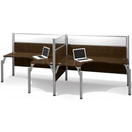 Pro-Biz Chocolate Double Side-by-Side Glass Panel L-Desk Workstation