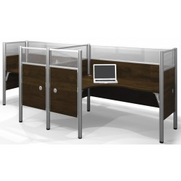 Pro-Biz Chocolate Double Side-by-Side Partition Glass Panel L-Desk Workstation