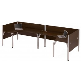 Pro-Biz Chocolate Double Back to Back L-Desk Workstation