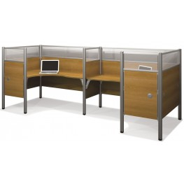 Pro-Biz Cappuccino Cherry Double Back to Back Partition Glass Panel L-Desk Workstation