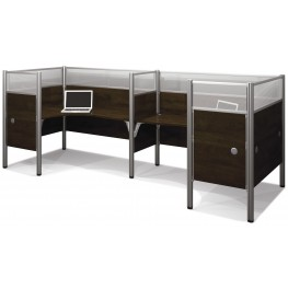 Pro-Biz Chocolate Double Back to Back Partition Glass Panel L-Desk Workstation