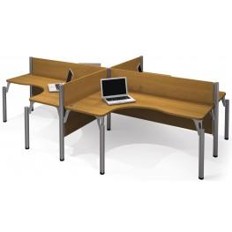 Pro-Biz Cappuccino Cherry Four L-Desk Workstation