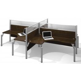 Pro-Biz Chocolate Four Glass Panel L-Desk Workstation