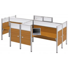 Pro-Biz Cappuccino Cherry Four Partition Glass Panel L-Desk Workstation