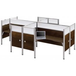 Pro-Biz Chocolate Glass Panel Four L-Desk Partition Workstation