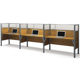 Pro-Biz Warm Cappuccino Cherry Triple Side-by-Side Glass Panel Workstation