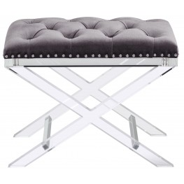 Allura Light Grey Fabric Bench