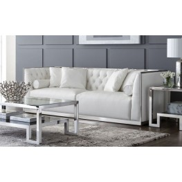 Maxime White Leather and Polished Stainless Steel Frame Living Room Set