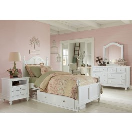 Lake House White Payton Youth Panel Bedroom Set With Two Storage Units