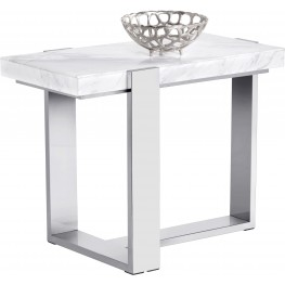 Tribecca White Marble End Table