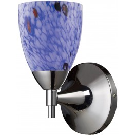 Celina Polished Chrome And Starburst Blue Glass 1 Light Sconce