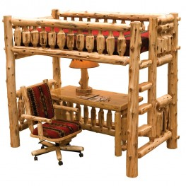 Traditional Cedar Single Right ladder Loft Bed