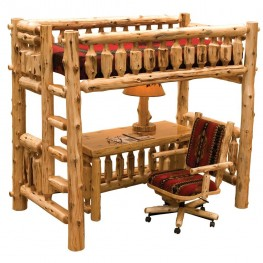 Traditional Cedar Single Left ladder Loft Bed