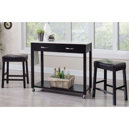 Black 3 Piece Bar Set