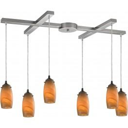 10223-6MEL Favelita Satin Nickel And Honey Melon Glass 6 Light Pendant