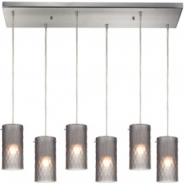 10243-6RC-FSM Synthesis Satin Nickel And Frosted Smoke Glass 6 Light Pendant