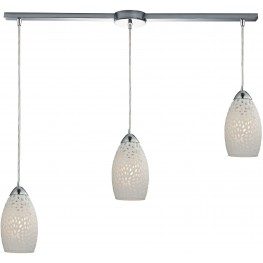 10245-3L Etched Glass Polished Chrome And White Etched Glass 3 Light Pendant