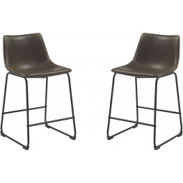 Rec Room Two-Tone Brown Upholstered Counter Height Stool Set of 2