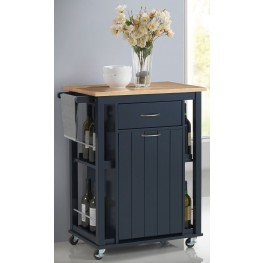 "28"" Natural and Navy Blue Kitchen Cart"