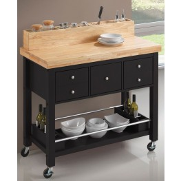 Natural and Black Kitchen Cart