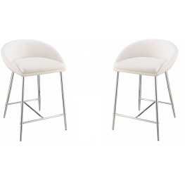Rec Room White Upholstered Counter Height Stool Set of 2