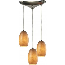 10330-3TB Andover Satin Nickel And Textured Beige Glass 3 Light Pendant