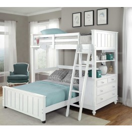 Lake House White Full Loft Bed with Full Lower Bed