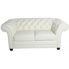 Victoria White Leather Loveseat
