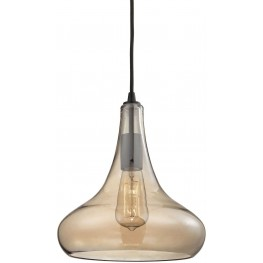 10432-1 Orbital Oil Rubbed Bronze And Amber Teak Glass 1 Light Pendant