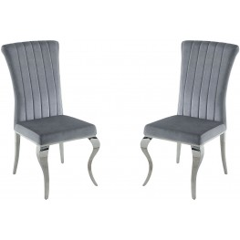 Carone Grey and Chrome Side Chair Set of 4