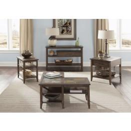 Brookstone Weathered Oak L-Shaped Occasional Table Set