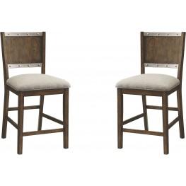 Beckett Brown Upholstered Counter Height Stool Set of 2