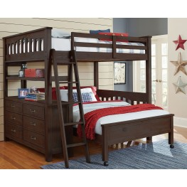 Highlands Espresso Full Loft Bed with Full Lower Bed
