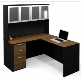 Pro-Concept L-Shaped Workstation With High Hutch In Chocolate & Black