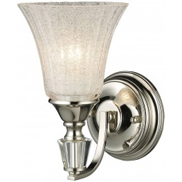 Lincoln Square Polished Nickel And Clear Crystalline Glass 1 Light Wall Sconce