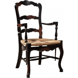 Country French Black Ladderback Arm Chair Set of 2