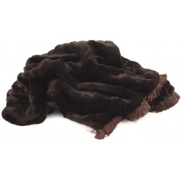 Mink Brown Throw with Fringe