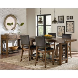 Benson Warm Brown Counter Height Trestle Dining Room Set