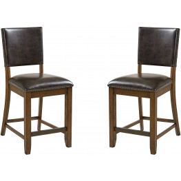 Benson Warm Brown Counter Height Upholstered Chair Set of 2