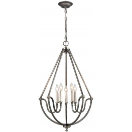 Stanton Weathered Zinc With Brushed Nickel Accents 5 Light Chandelier