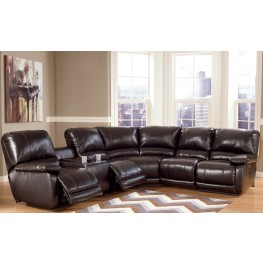 Capote DuraBlend Chocolate Power Reclining Right Arm Facing Sectional