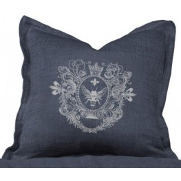 Logo Indigo Linen Pillow