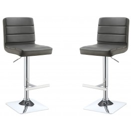 Grey Adjustable Bar Stool Set of 2
