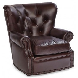 Baron Gunner Coffee Swivel Leather Chair